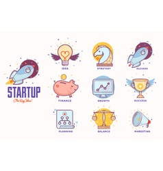 Flat icons for startup project vector image