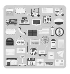 flat icons postal service and post office set vector image vector image