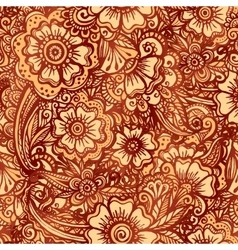 Hand-drawn floral seamless pattern in Indian vector image vector image