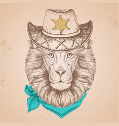 Hipster animal lion hand drawing muzzle of lion vector