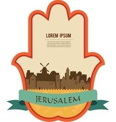 Jerusalem skyline inside hamsa hand vector