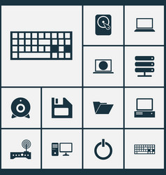Laptop icons set collection of monitor keypad vector