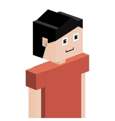 Lego child half body with t-shirt and short hair vector