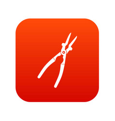 metal welder pliers icon digital red vector image