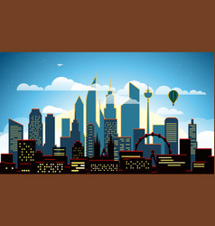 Modern cityscape in the evening big city scene vector