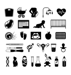 Pregnancy black icons pregnant health test and vector