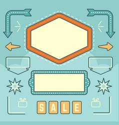 Retro american 1950s sign design elements set vector