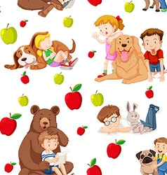 Seamless background with children and pets vector