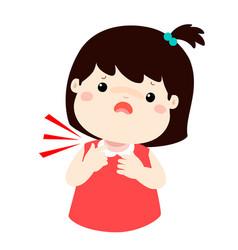Sick girl sore throat cartoon vector