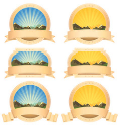 Summer mountains banner and scroll ribbons vector