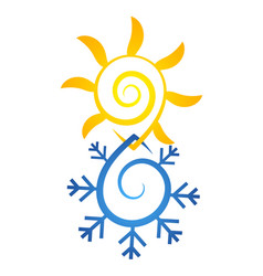 Sun and snowflake abstract symbol vector