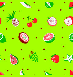 Tropical exotic fruits seamless pattern vector