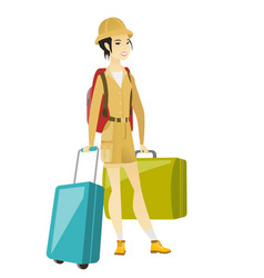 Young asian woman traveler with many suitcases vector