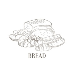 Bread And Pastry Still Life Hand Drawn Realistic vector image