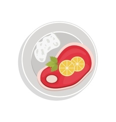 Food plate with steak meat and lemon slices vector