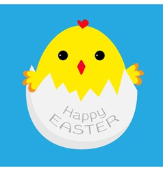 Cute easter chicken and egg shell vector