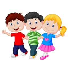 Happy young children cartoon vector