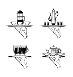Holding tray with coffee or tea and cups vector