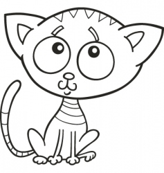 Cute kitten for coloring book vector