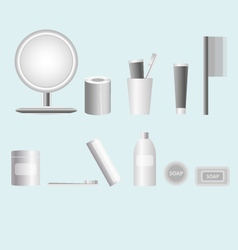 Cosmetics accesories set black and white icons vector
