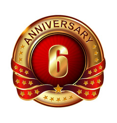 6 anniversary golden label with ribbon vector