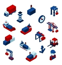 Isometric color seaport icons set vector