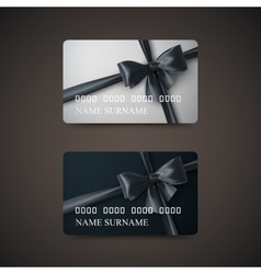 Gift cards with black bow and ribbon vector