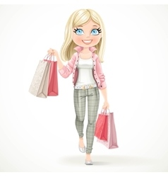 Cute blond shopaholic girl goes with paper bags vector