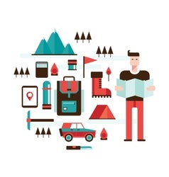 Man with map mountain hiking climbing camping vector