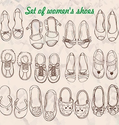Set of womens shoes in sketch style vector