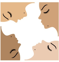 Graphic showing unity amongst beautiful women vector