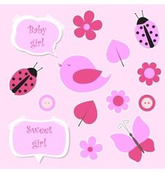 Set of pink scrapbook elements for baby girl vector image
