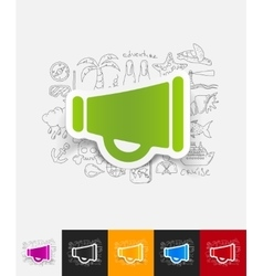 Megaphone paper sticker with hand drawn elements vector