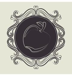 Apple fruit over brown background vector