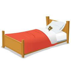 Cartoon bed with teddy bear vector