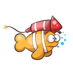 cartoon fish with rocket vector image