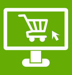 Computer monitor with shopping cart icon green vector