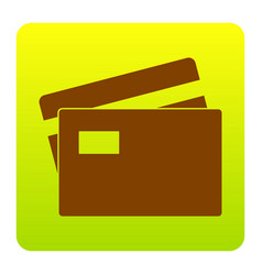 Credit card sign brown icon at green vector