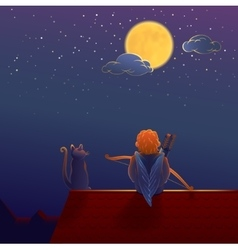 Cupid on the roof under the moon vector image vector image