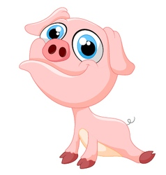Cute baby pig cartoon vector