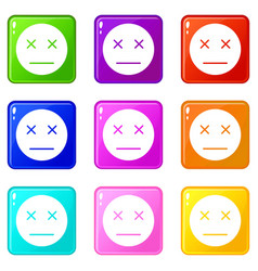 Dead emoticons 9 set vector