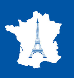 eiffel tower and map on blue vector image