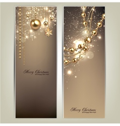 Elegant christmas banners with golden baubles and vector image vector image