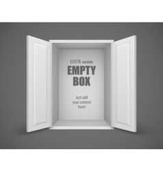 Empty box with open doors vector image vector image