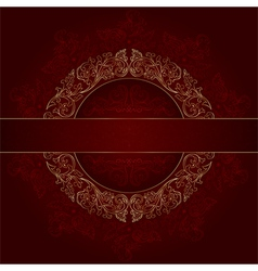 Floral gold frame with vintage patterns on red vector image vector image