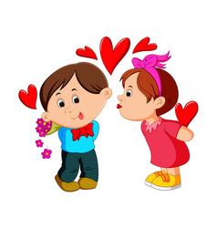 girl kissing a man vector image