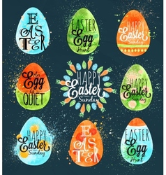 Happy easter egg blue vector image vector image