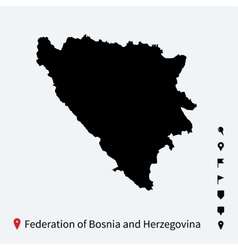 High detailed map of federation of bosnia and vector