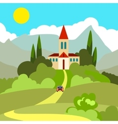 House on the hill in the hot sun vector