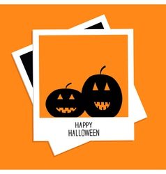 Instant photo with two pumpkins happy halloween vector